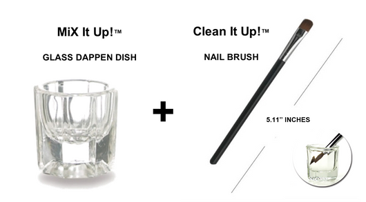 MiX It Up™ GLASS DAPPEN DISH + Clean It Up™ NAIL BRUSH (COMBO TOOL SET)