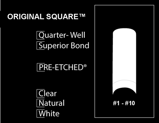 20 CT. - PRE-ETCHED® ORIGINAL SQUARE™ PRO NAIL TIPS - WHITE - SAMPLE SIZE