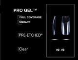 "PRE-ETCHED® Ultra Clear Pro Gel™ Full Cover Nail Tips - NO-WELL | FULL CONTACT | PERFECT COVER - ""SQUARE"" - 400 CT. PRO BOX"