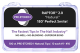 PRE-ETCHED® RAPTOR™ 2.0 - PRO NAIL TIPS - 100 CT. ASSORTED BOX - WHITE . NATURAL . CLEAR