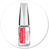 Mani + Pedi™ CUTICLE OIL - infused with *Delicious Strawberry (EO) - Travel Size Glass Bottle (Brush-On) - Never Sticky or Greasy!