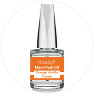 Mani + Pedi™ CUTICLE OIL  - infused with *Orange Vanilla Creme (EO) - 1/3 FL. OZ.  (Full-Size) Glass Bottle (Brush-On) - Never Sticky or Greasy!