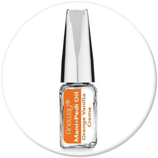 Mani + Pedi™ CUTICLE OIL  - infused with *Orange Vanilla Creme (EO) - (Travel Size) Glass Bottle (Brush-On) - Nourishing Cuticle + Aromatic Skin Care - Never Sticky or Greasy!