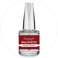 Mani + Pedi™  CUTICLE OIL - infused with *Sweet Cherry (EO) - 1/3 FL. OZ.  (Full-Size) Glass Bottle (Brush-On) - Never Sticky or Greasy!