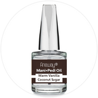 Mani + Pedi™ CUTICLE OIL  - infused with *Warm Vanilla Coconut Sugar (EO) - 1/3 FL. OZ. (Full-Size) Glass Bottle (Brush-On) - Never Sticky or Greasy!