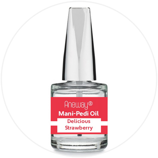 Mani + Pedi™ CUTICLE OIL - infused with *Delicious Strawberry (EO) - 1/3 FL. OZ.  (Full-Size) Glass Bottle (Brush-On) - Never Sticky or Greasy!