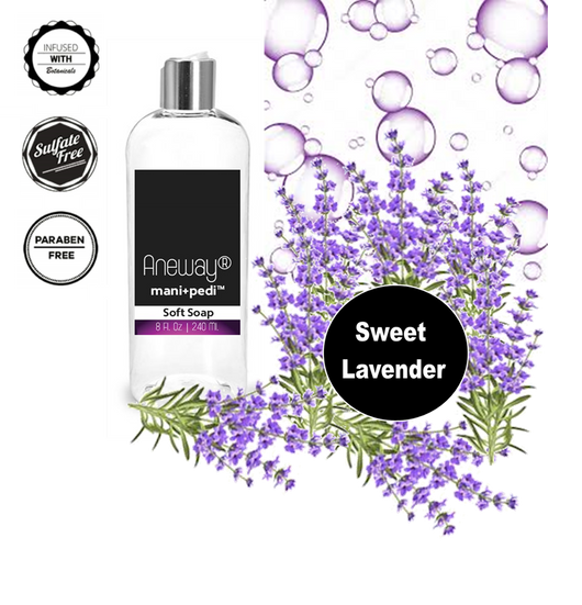 Aneway® Mani+Pedi™ CARE - Botanical Infused, Liquid Soft Soap - 8 Fl. Oz. Crystal Clear Bottle - Sweet Lavender (EO) - Sulfate-Free