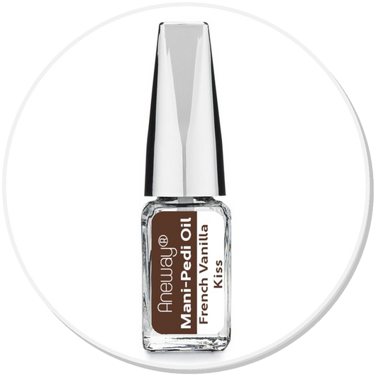 Mani + Pedi™ CUTICLE OIL - infused with *French Vanilla Kiss (EO) - Travel Size Glass Bottle (Brush-On) - Never Sticky or Greasy!