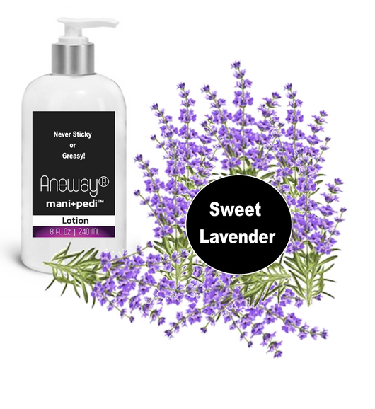 Aneway® Mani+Pedi™ CARE - Hand & Body Lotion -  8 Oz. Crystal Clear Bottle - Pump Top Dispenser - Sweet Lavender (E.O.). Never Sticky or Greasy!