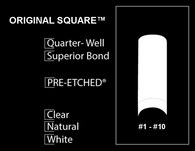 Aneway® PRE-ETCHED® ORIGINAL SQUARE™ PRO NAIL TIPS - 400 CT. PRO BOX - WHITE . NATURAL . CLEAR