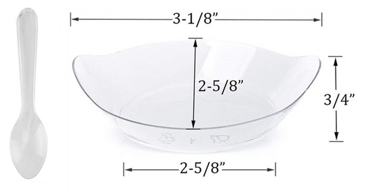 Aneway® SKINNY DIP™ Mini Plastic Trays + Matching Dipping Spoons |  Disposable/Sanitize-able | CLEAR SET
