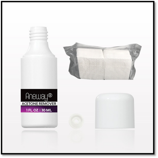 Aneway® Acetone Remover Solution + Lint Free Nail Wipes - Trial Size