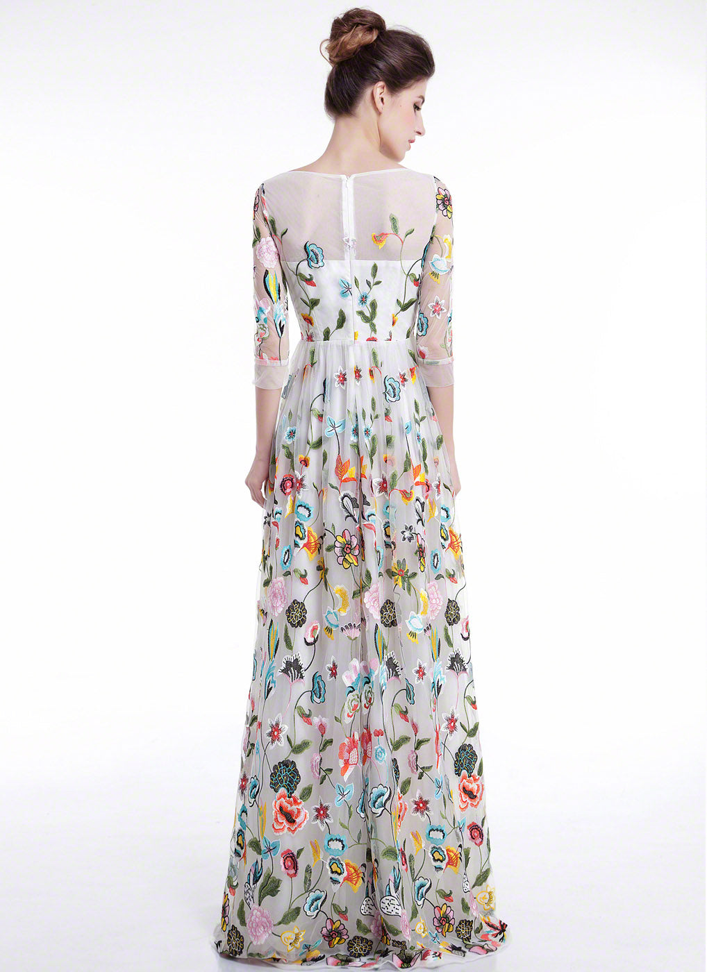 White Tulle Floor Length Evening Dress With Floral Accents Colorful