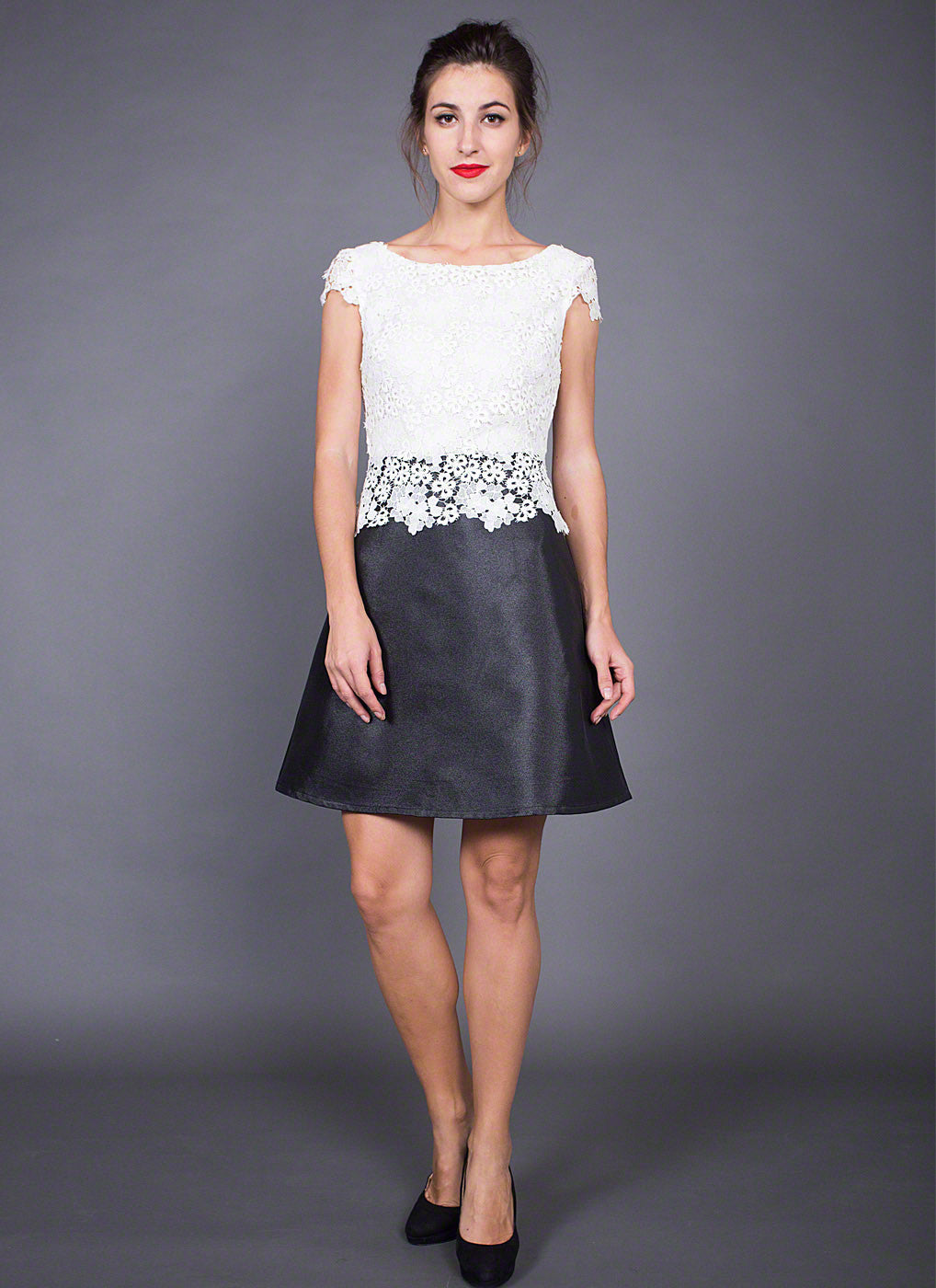 Black Mikado Mini Cocktail Dress with White Lace Peplum Top ...