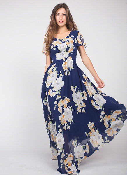 Dark Blue Chiffon Maxi Length Evening Dress with Large White Floral Print, Elegant Blue Long Cocktail Dress with Empire Waist