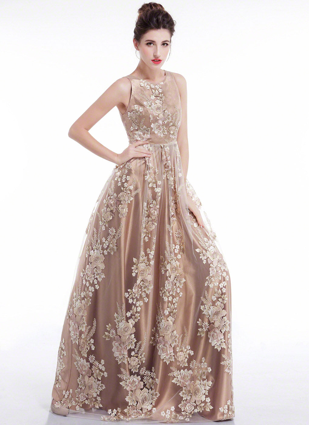 Open Back Champagne Floral Embroidery Floor Length Evening Dress ...