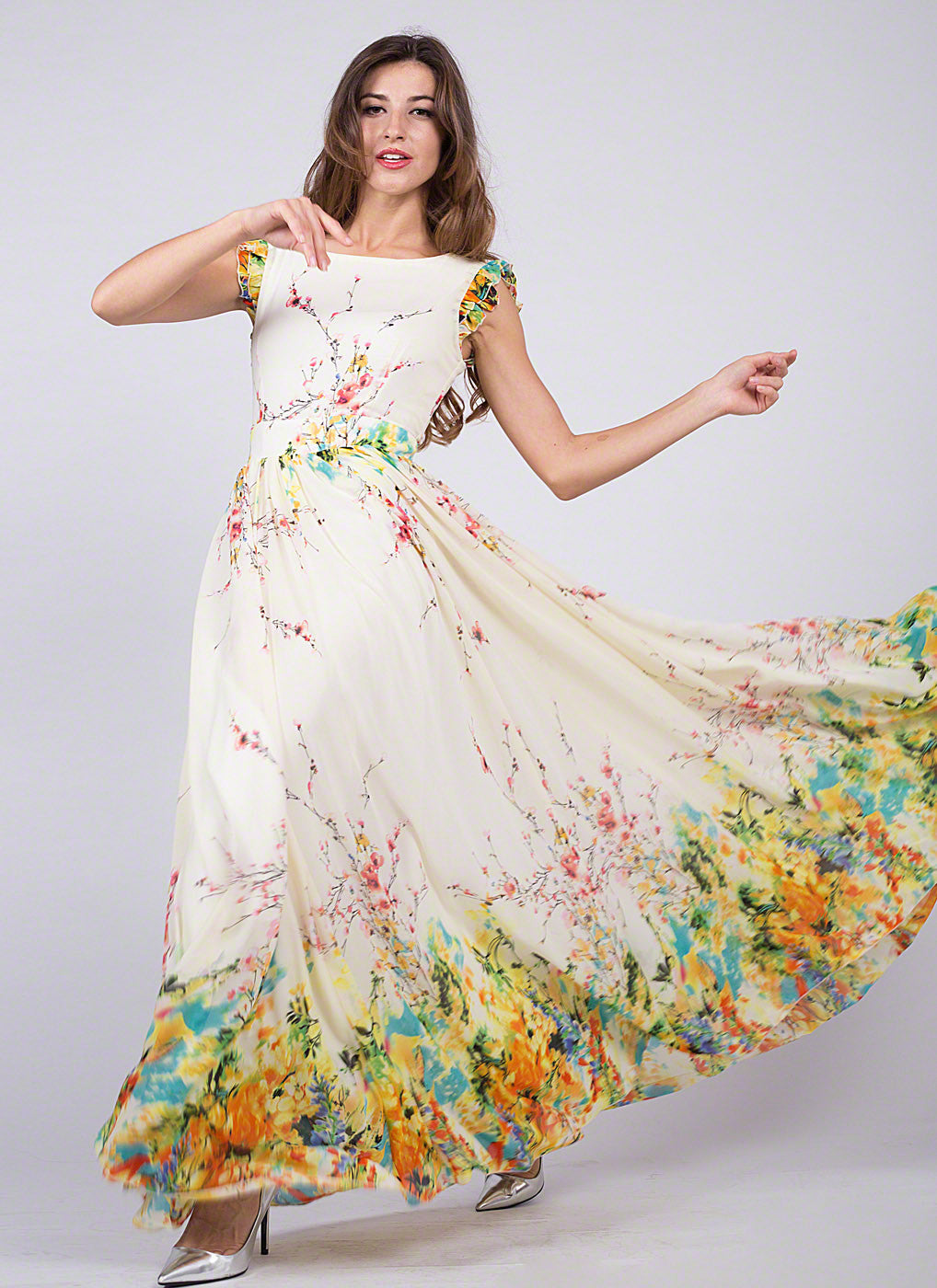 Artsy Yellow Chiffon Floral Prom Dress with Rainbow Floral Print and ...