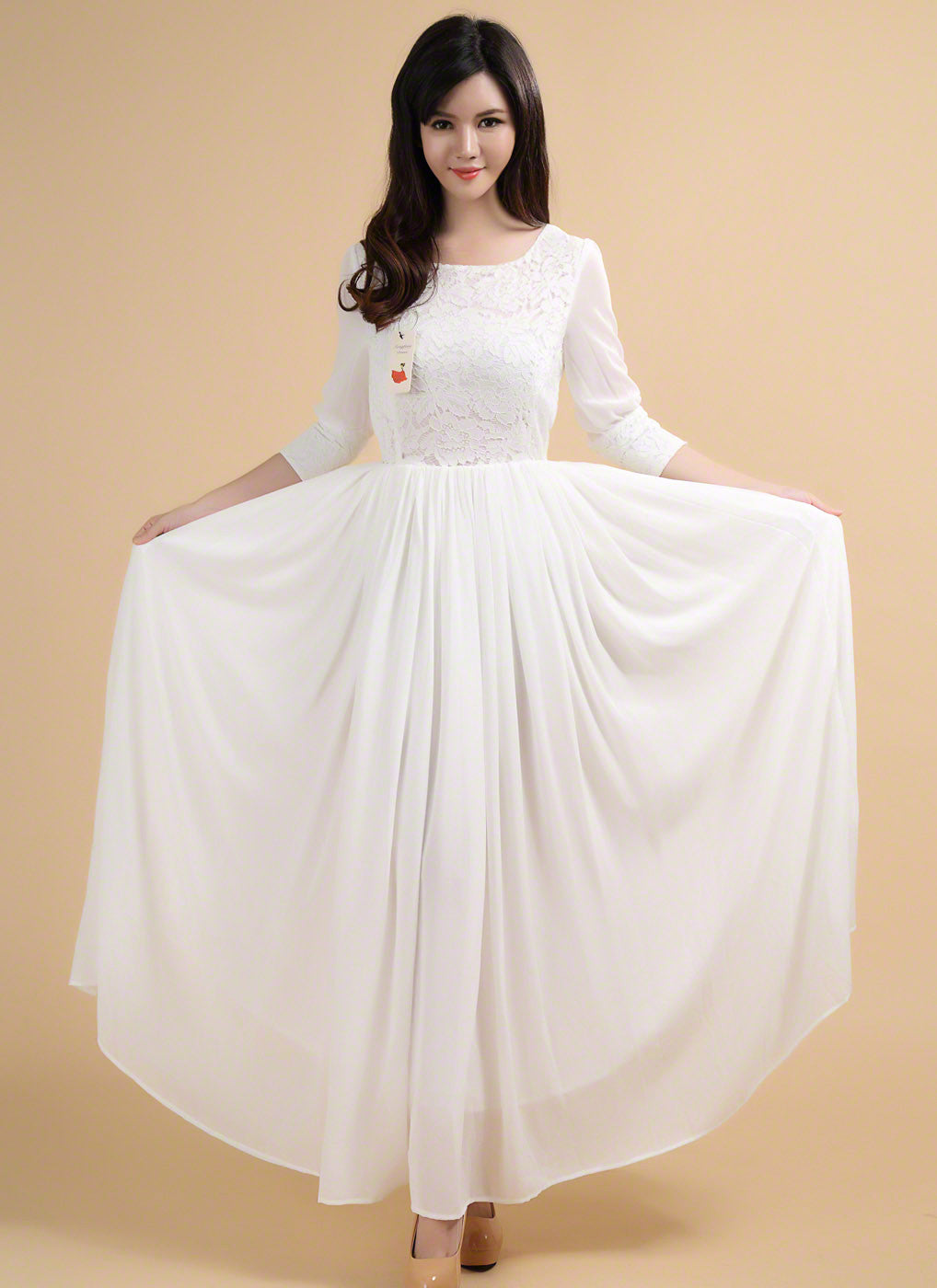 Vintage Style White Maxi Length Chiffon Wedding Dress with Lace ...