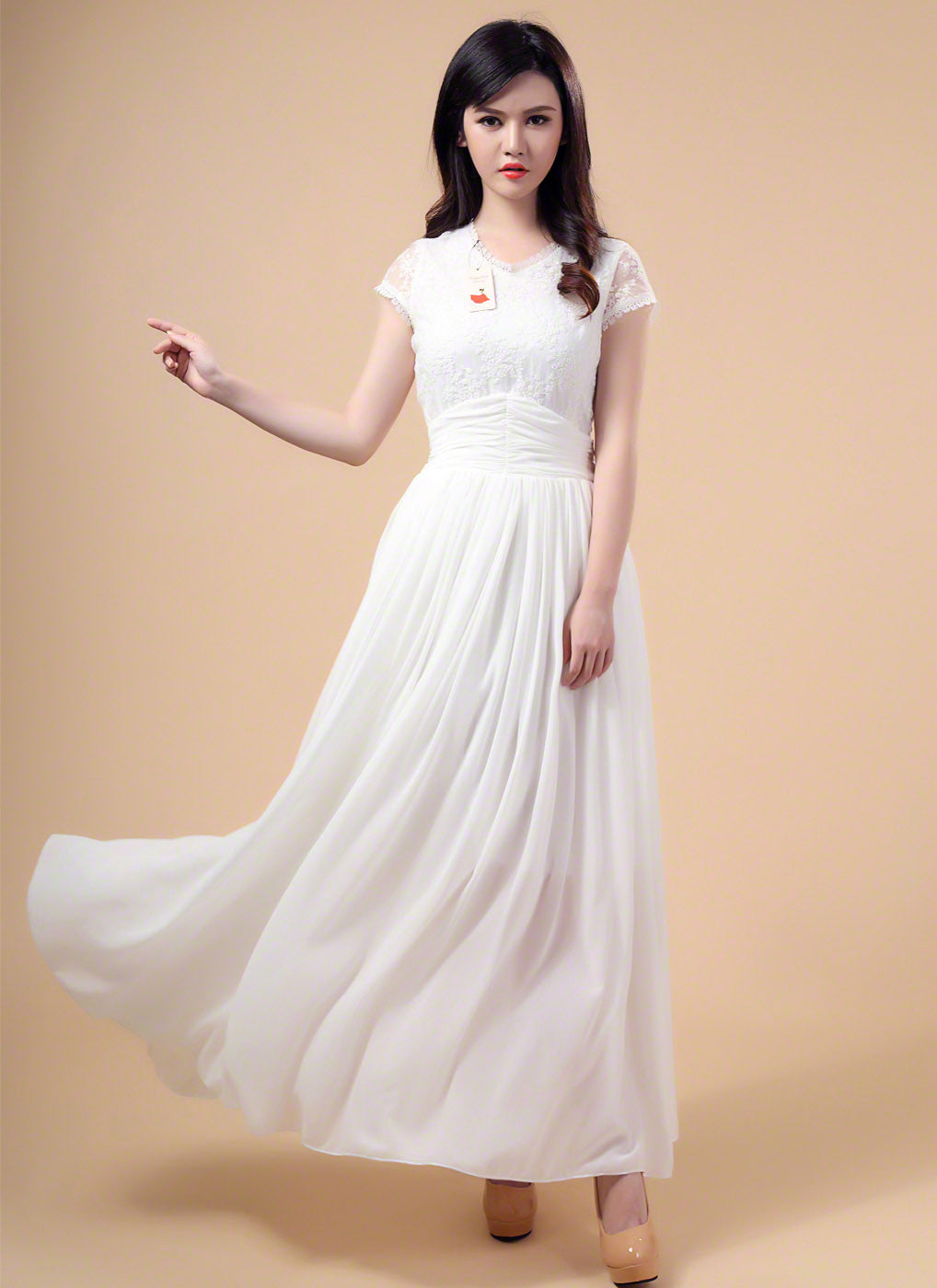 White V Neck Embroidered Lace Wedding Dress with Long Flowing Chiffon  Skirt  Beach Side Lace 7c38f663d6cd