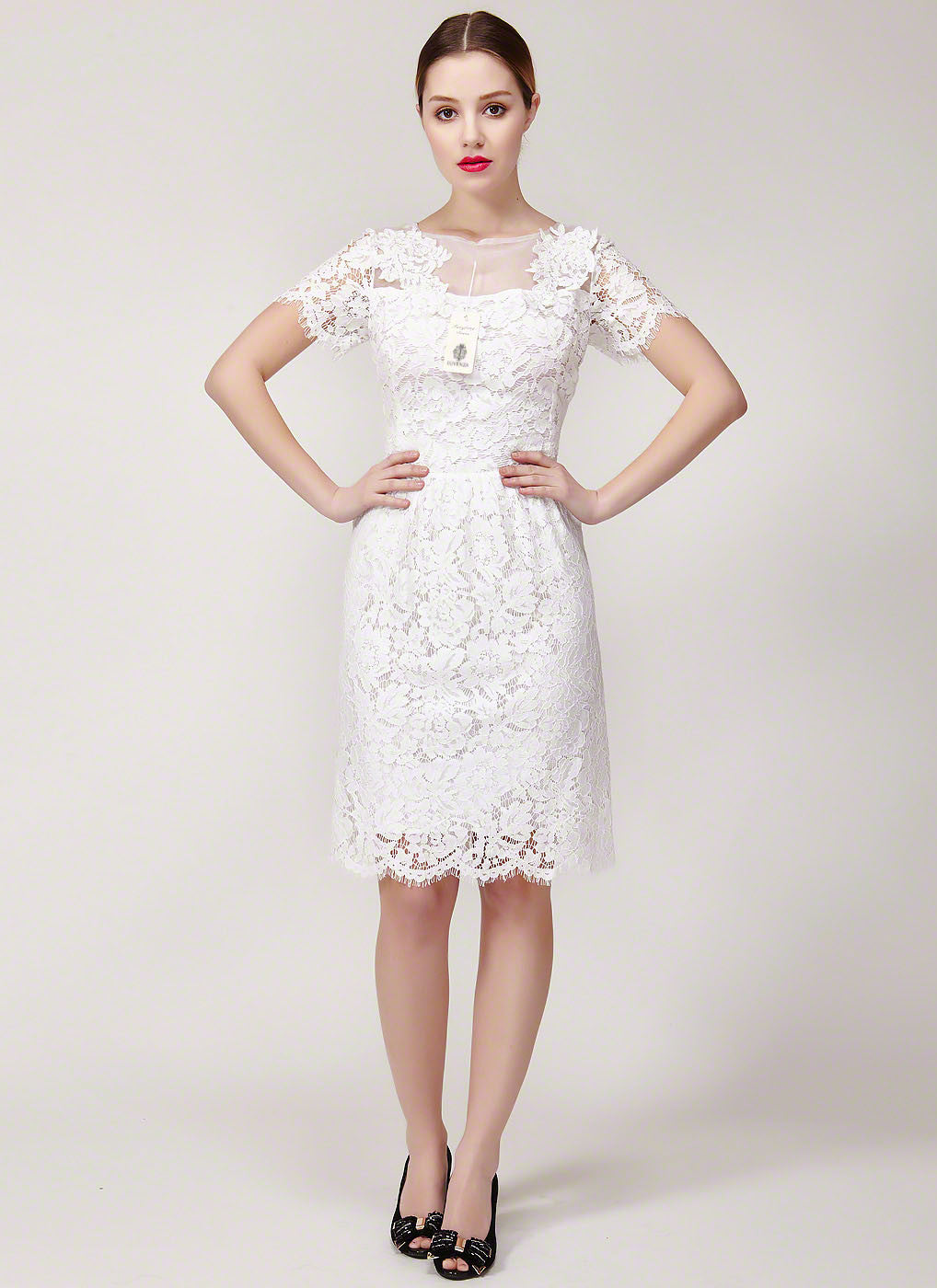 6f913f90f8 White Lace Mini Dress with Eyelash Scalloped Hem and Floral Applique