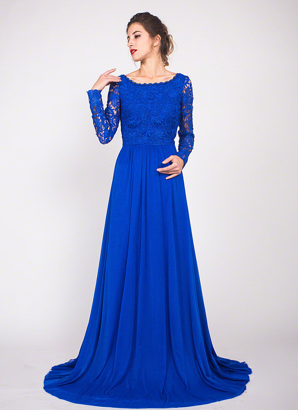 Royal Blue Floor Length Lace Evening Gown with Rhinestone ...