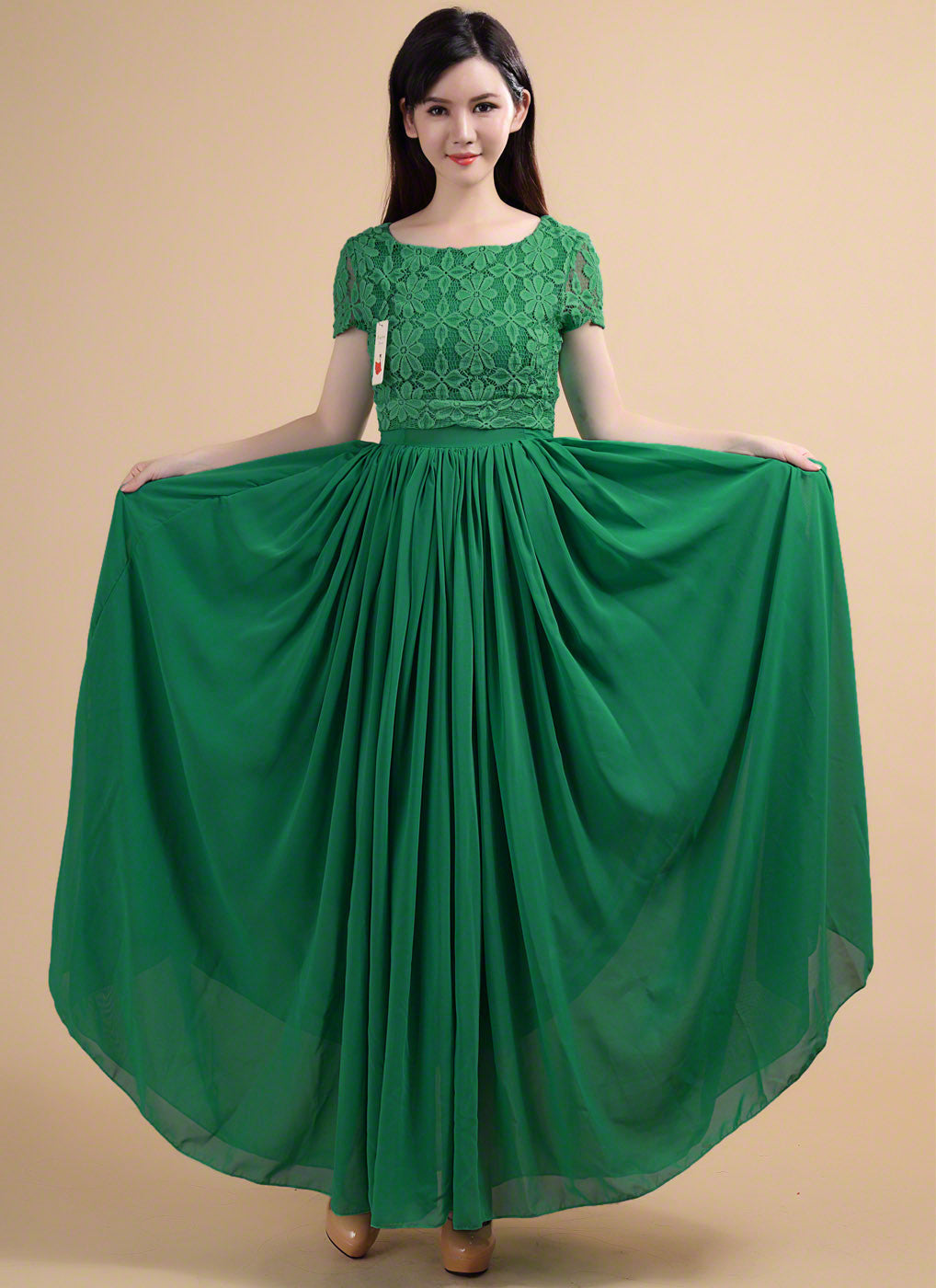 Vintage Style Emerald Green Embroidered Lace and Chiffon Maxi Length ...