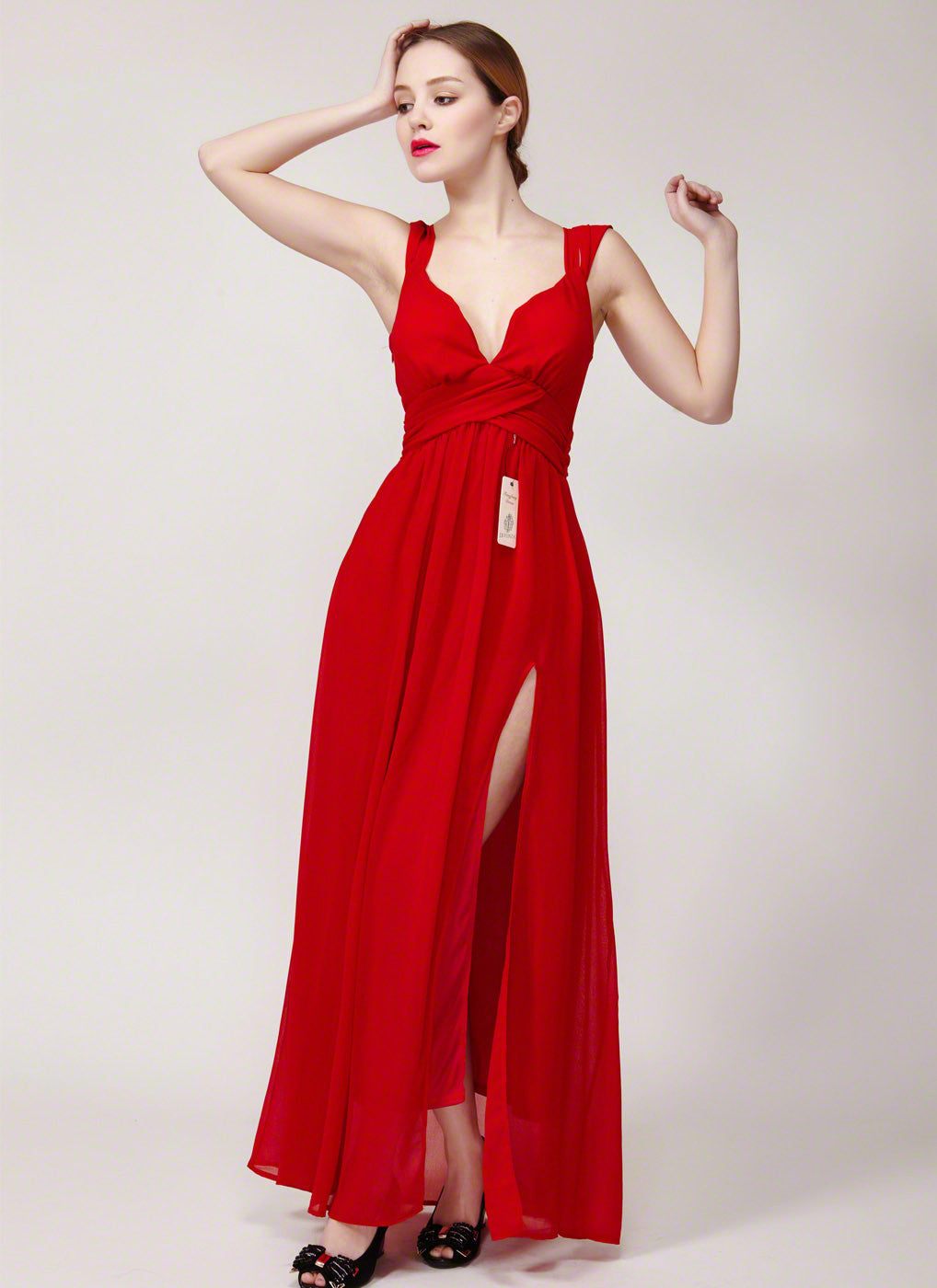0c2cdc18e82a Open Back Red Maxi Length Evening Gown with Skirt Slit and Ruched Empire  Waistline/ Red