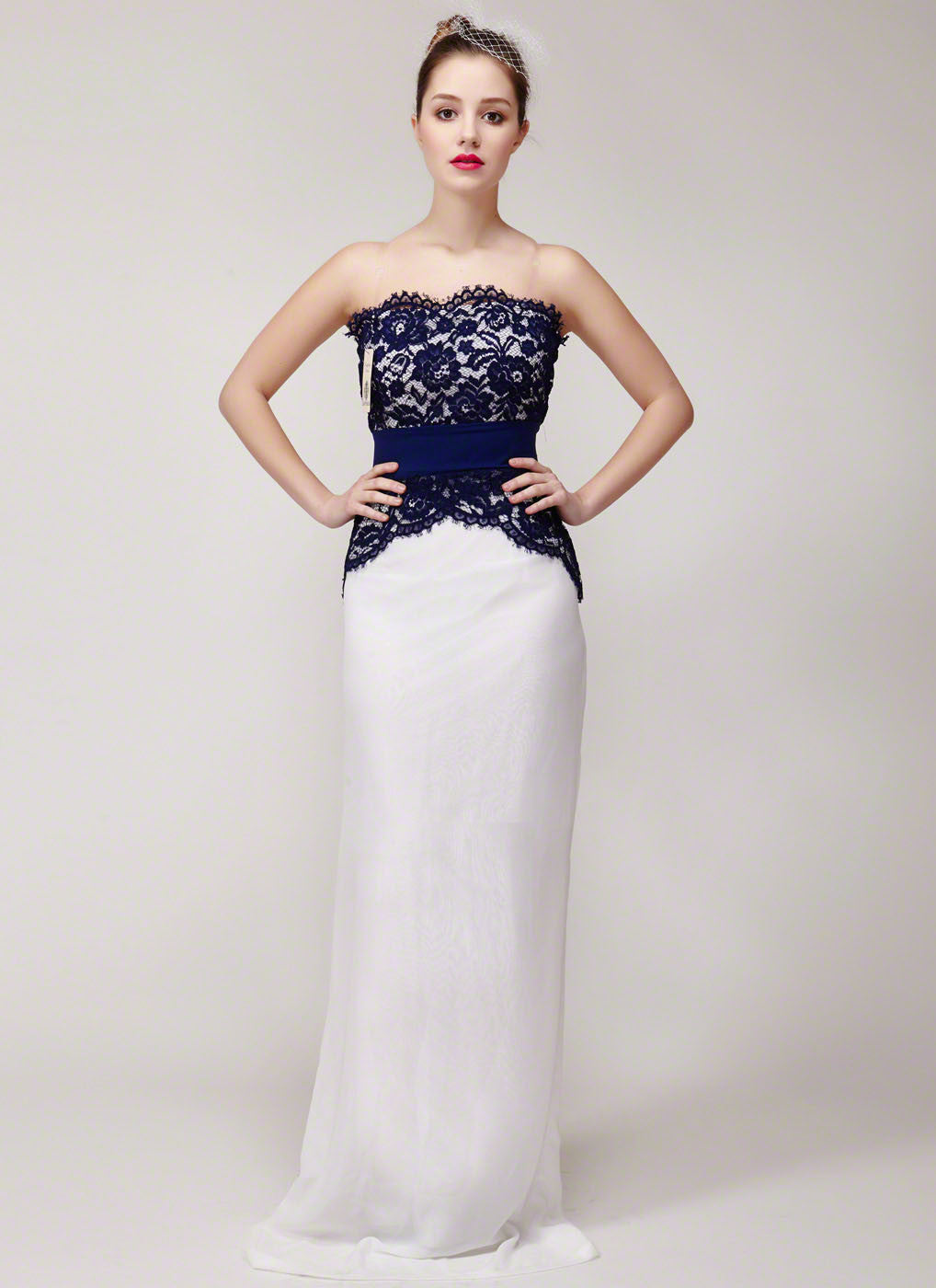 Strapless Navy Lace Peplum Prom Dress with Asymmetric Peplum and ...