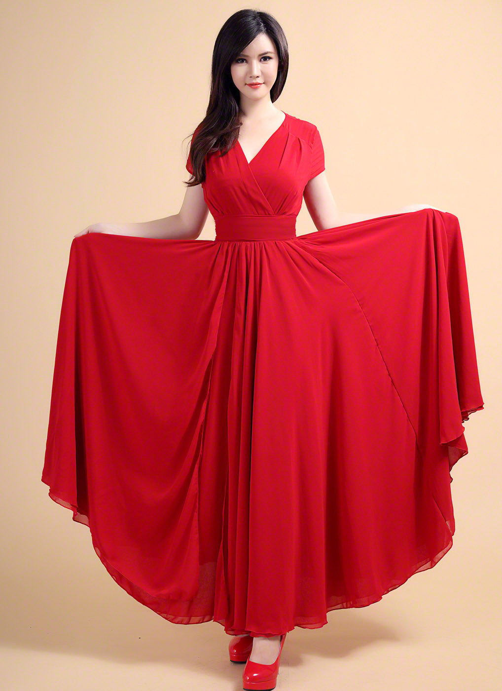 Red V Neck Maxi Length Prom Dress with Faux Surplice Bodice ...