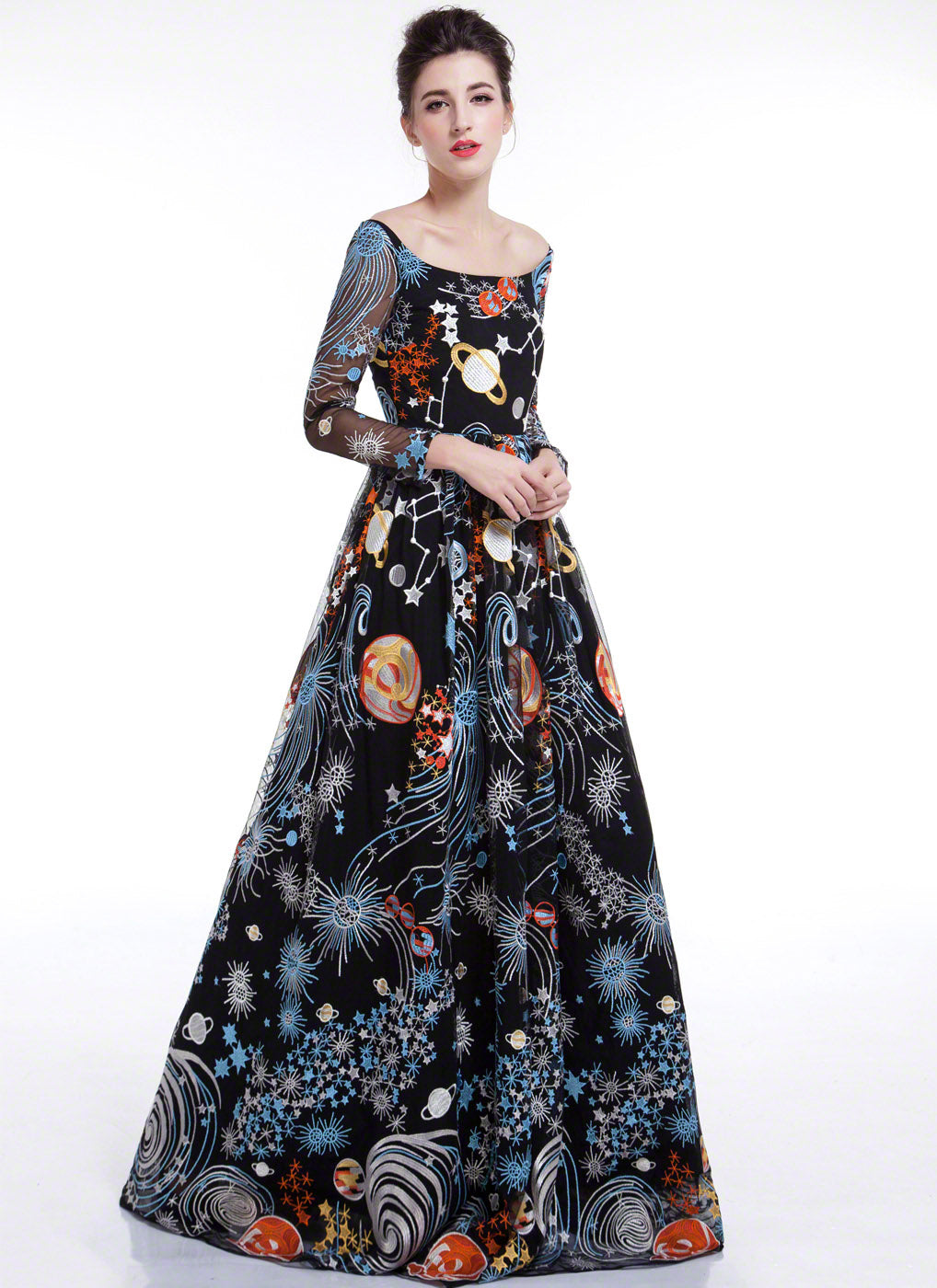 Black Galaxy Print Floor Length Evening Dress with Colorful Outer ...