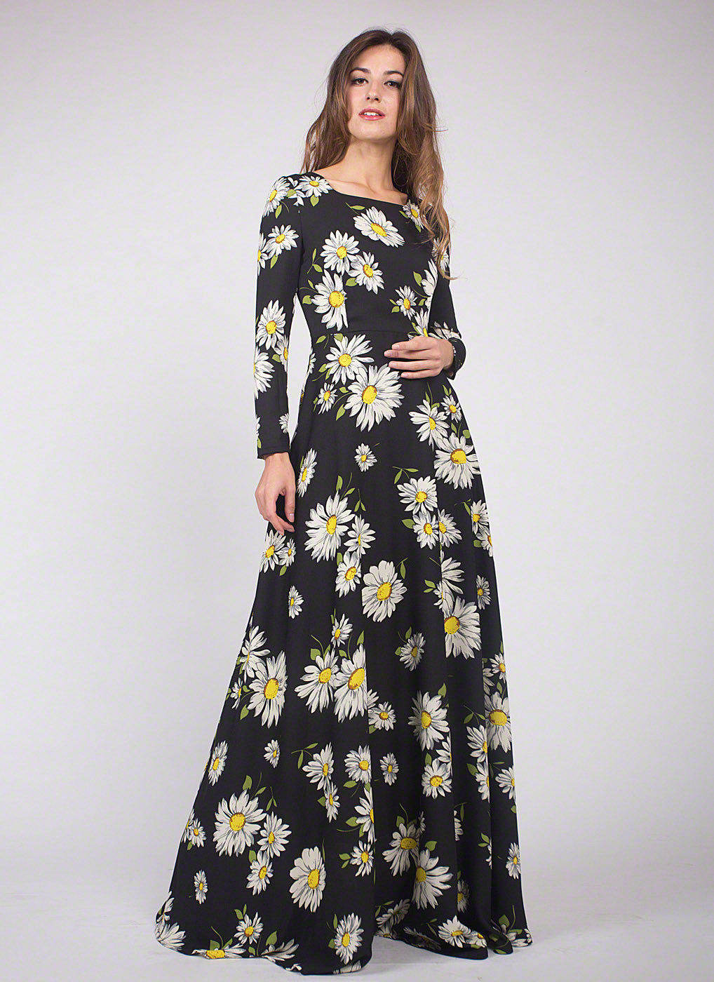 5b2a52cefc4 Floor Length Black Daisy Print Maxi Dress  Trendy Long Sleeve Black Bold Floral  Print Maxi