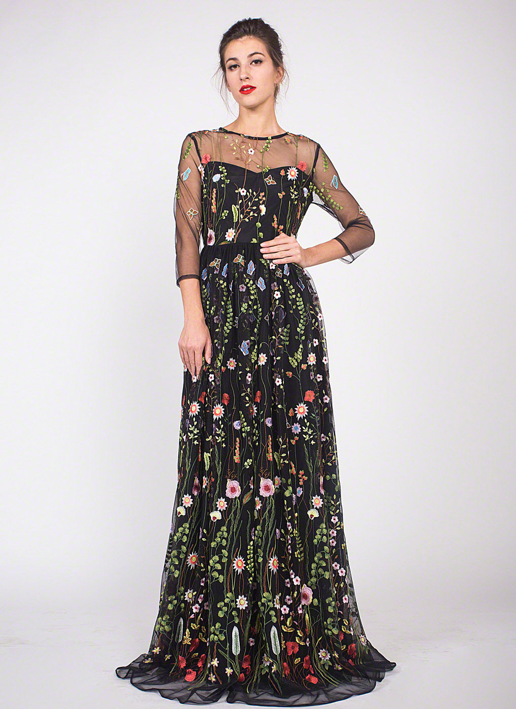 Black Tulle Floor Length Dress With Colorful Floral Embroidery/ Elegant  Black Embroidered Tulle Lace Evening