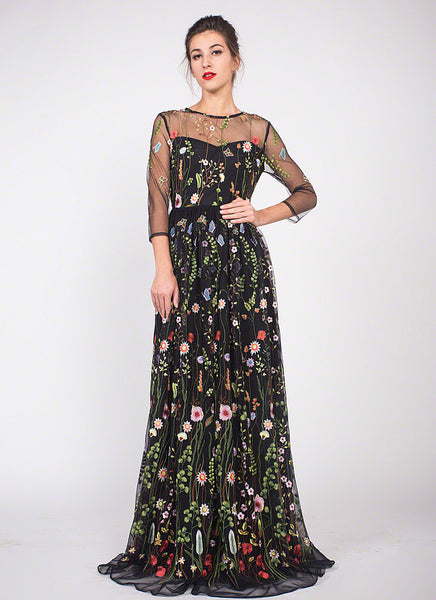 Black Tulle Floor Length Dress with Colorful Floral Embroidery/ Elegant Black Embroidered Tulle Lace Evening Dress with Three Quarter Sleeve