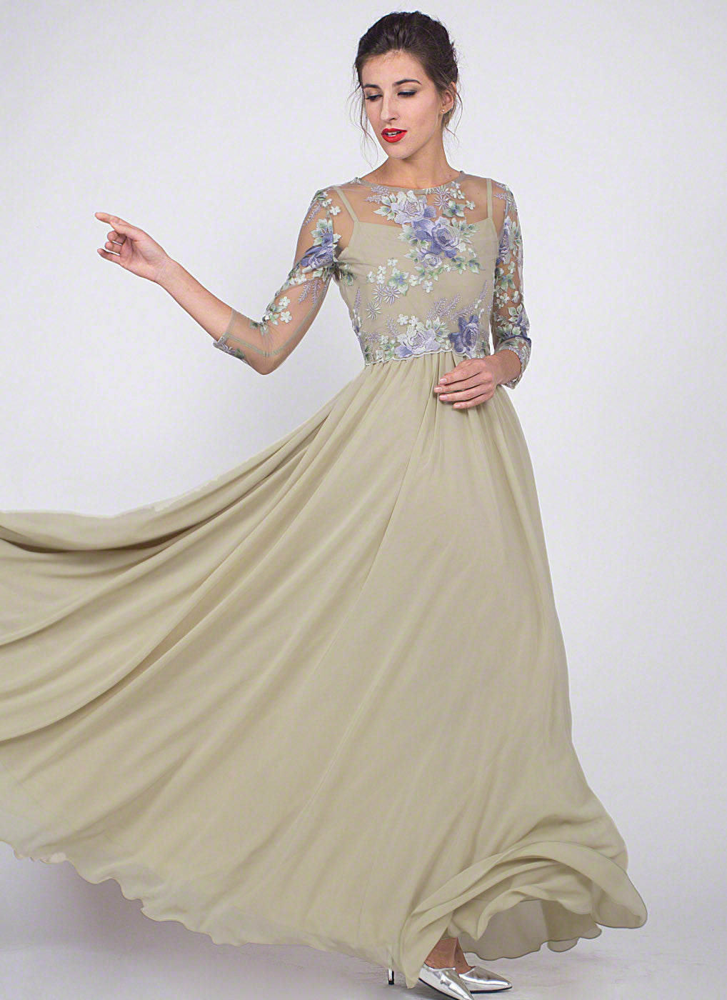 Light Green Floral Embroidered Tulle Chiffon Evening Dress with ...