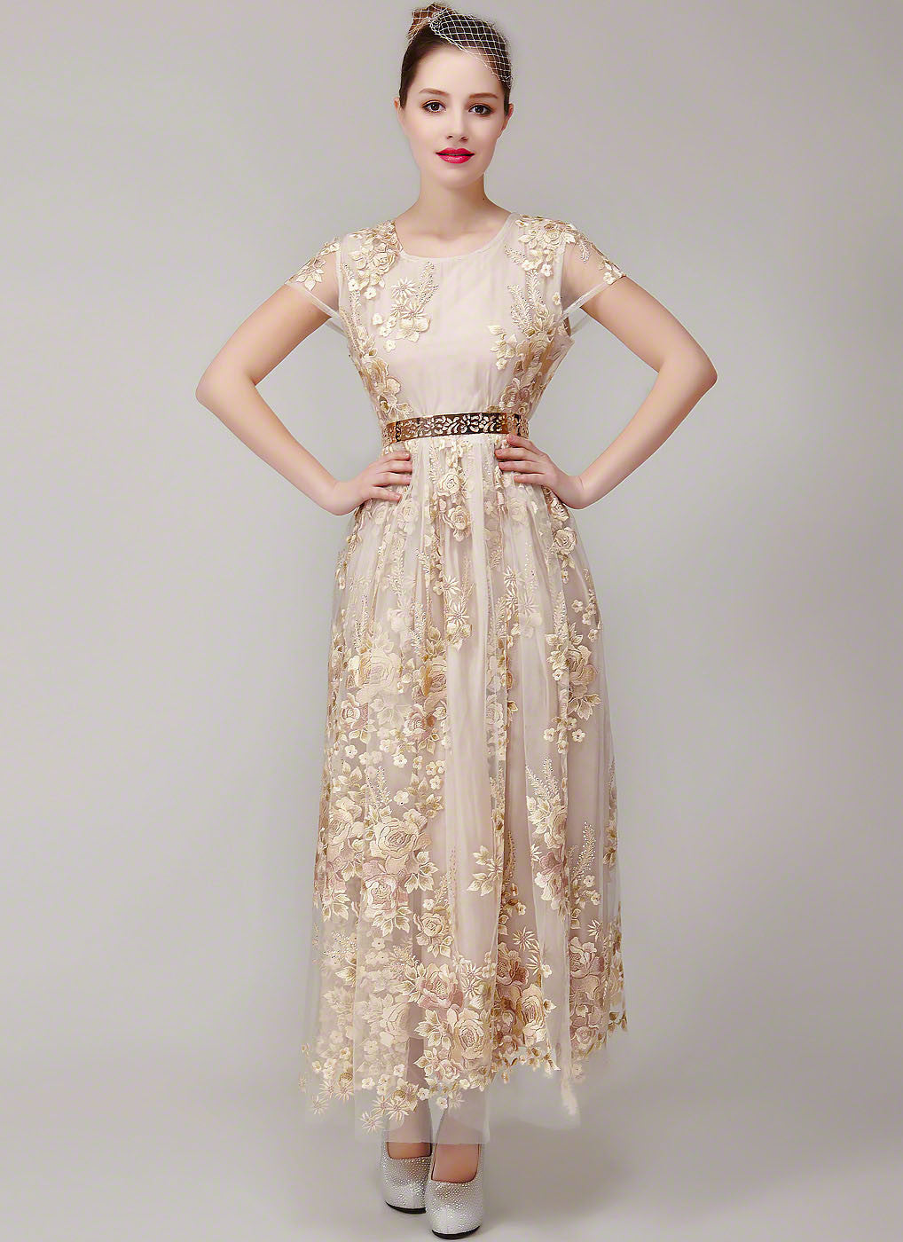 Champagne Color Tulle Lace Floral Embroidered Maxi Length Evening ...