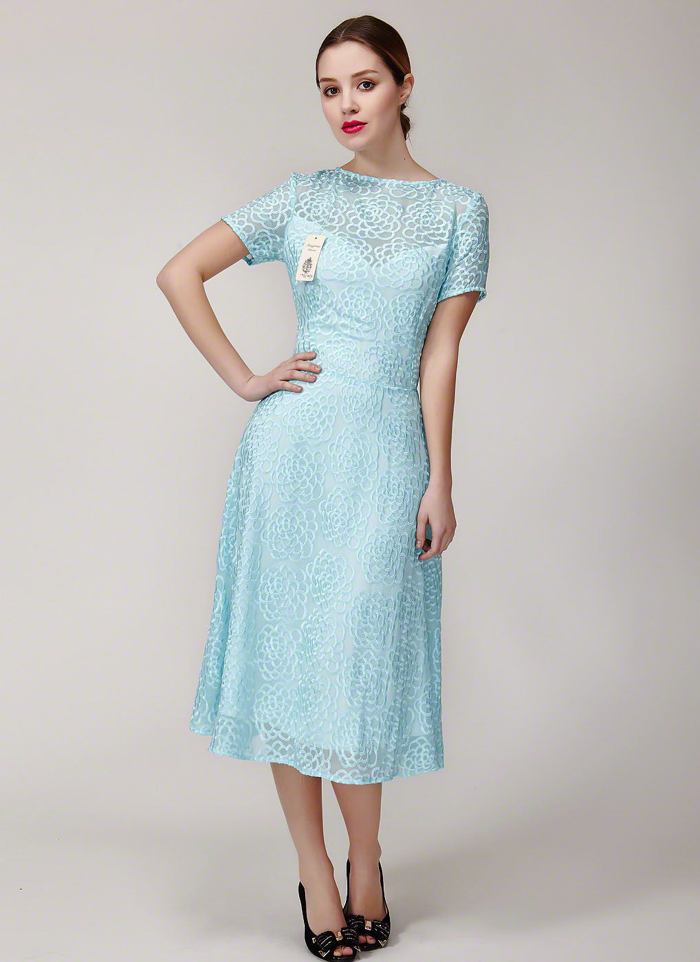 Pale Turquoise Embroidered Silk Lace Prom Dress in Tea Length ...