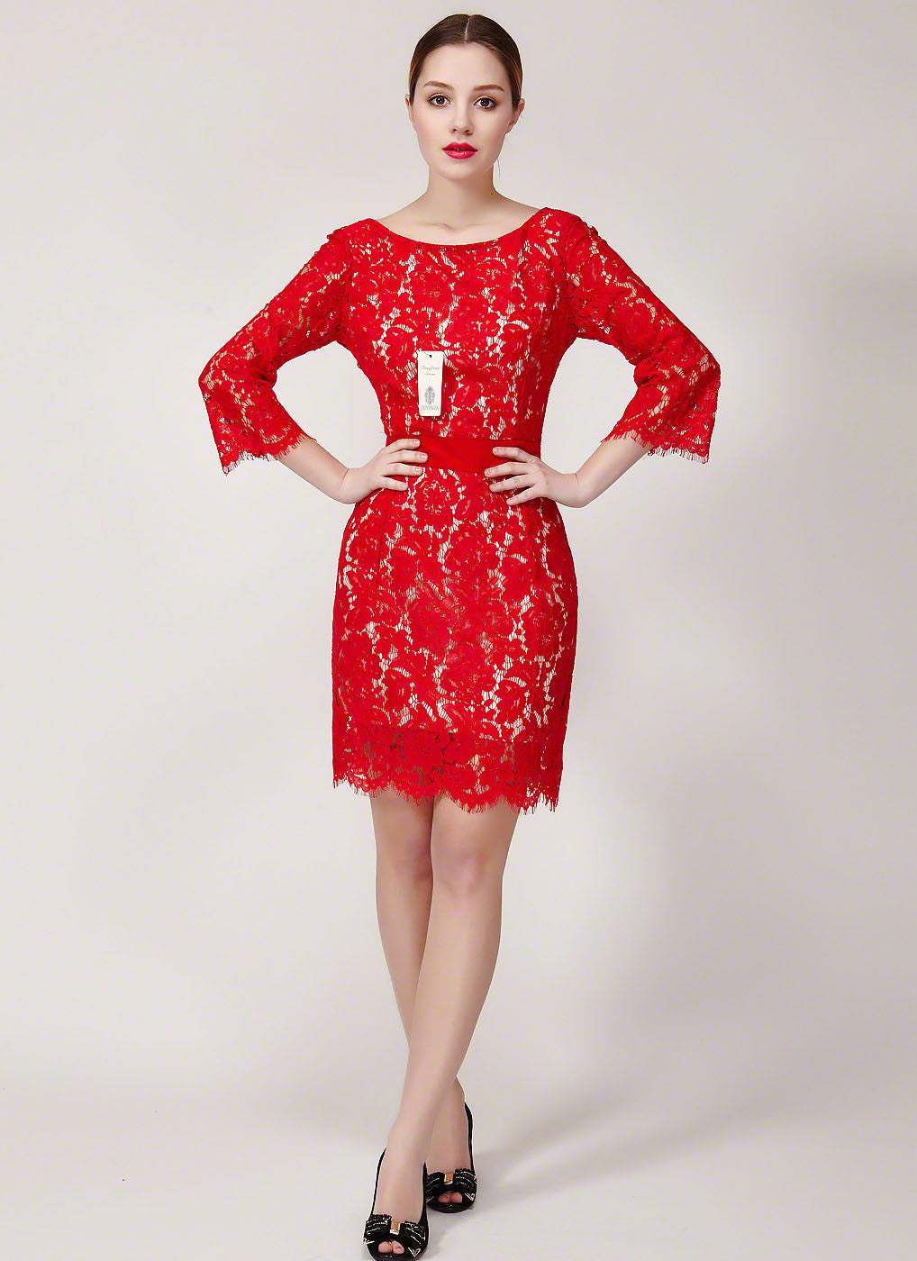 b6cbb60d86 V Back Red Lace Mini Dress with Elbow Sleeves and Scalloped Hem