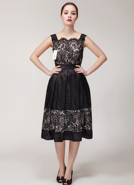 Court Neck Black Lace Satin Mini Dress with Nude Lining and Eyelash Details - Lace Prom Dress - Fit and Flare Dress Cocktail Dress