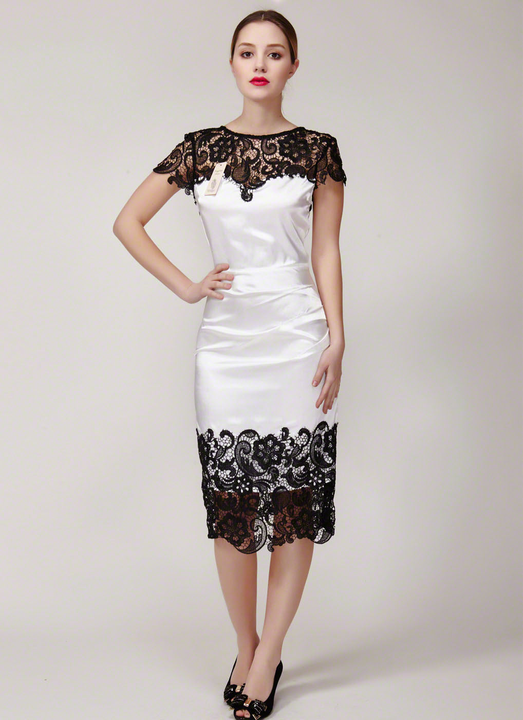 b4bcaf83 Lace Sheath Dress with Cap Sleeve and Asymmetric Hem - Black and White Dress  - V