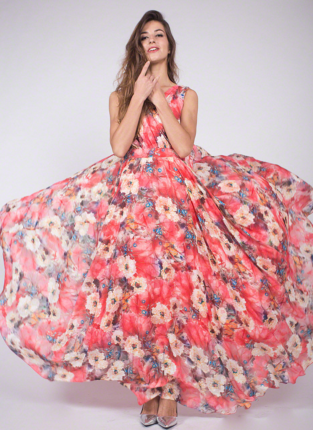 5a141c331bd Red Floral V Neck Chiffon Maxi Dress with Long Flowing Skirt  Red Flower  Print Maxi