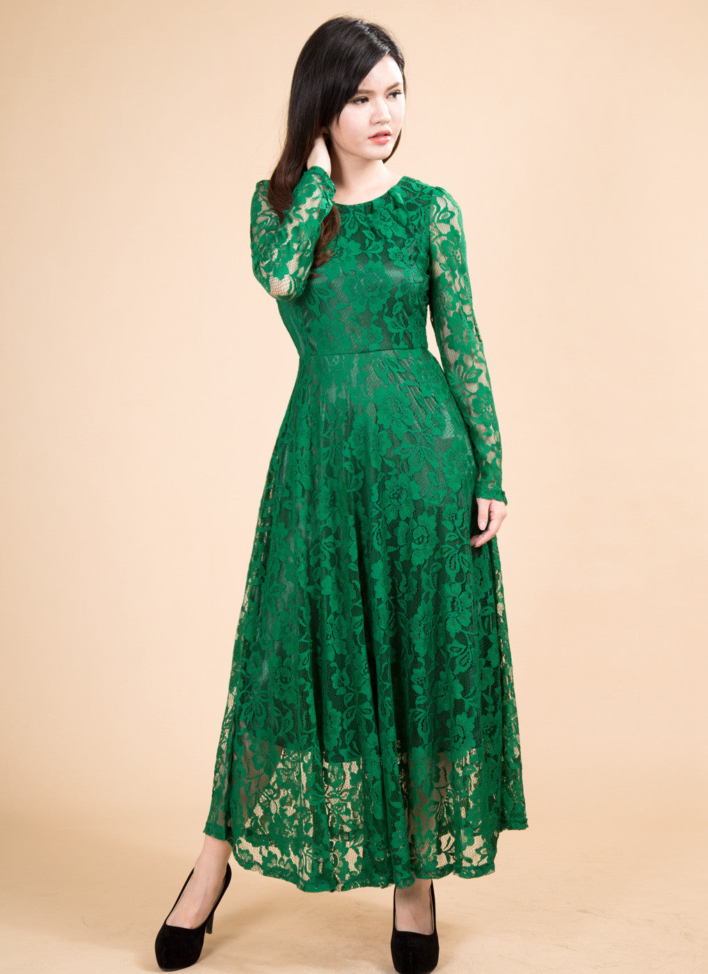 e3035590f1 Green Classic Boat Neck Maxi Length Floral Lace Prom Dress/ Maxi Lace  Evening Dress with