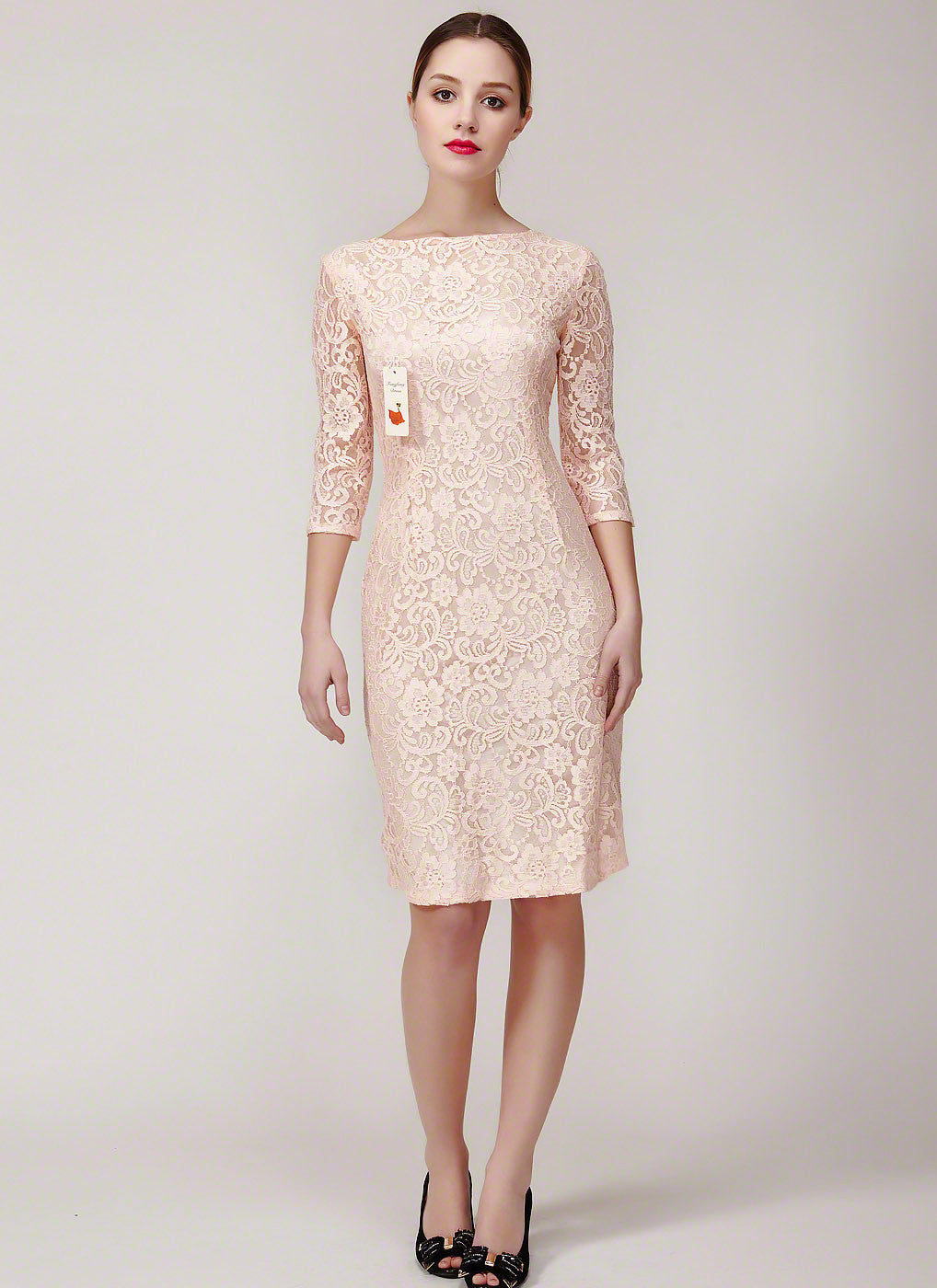 Nude Pink Dusty Rose Pink Lace Sheath Dress with Three Quarter ...