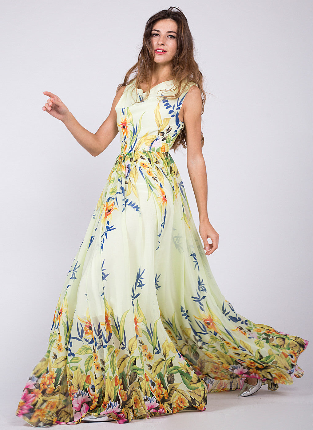 d20fe2c5f2 Light Yellow Sleeveless Floor Length Sundress with Multi-Color Floral  Print/ Yellow Chiffon Floral