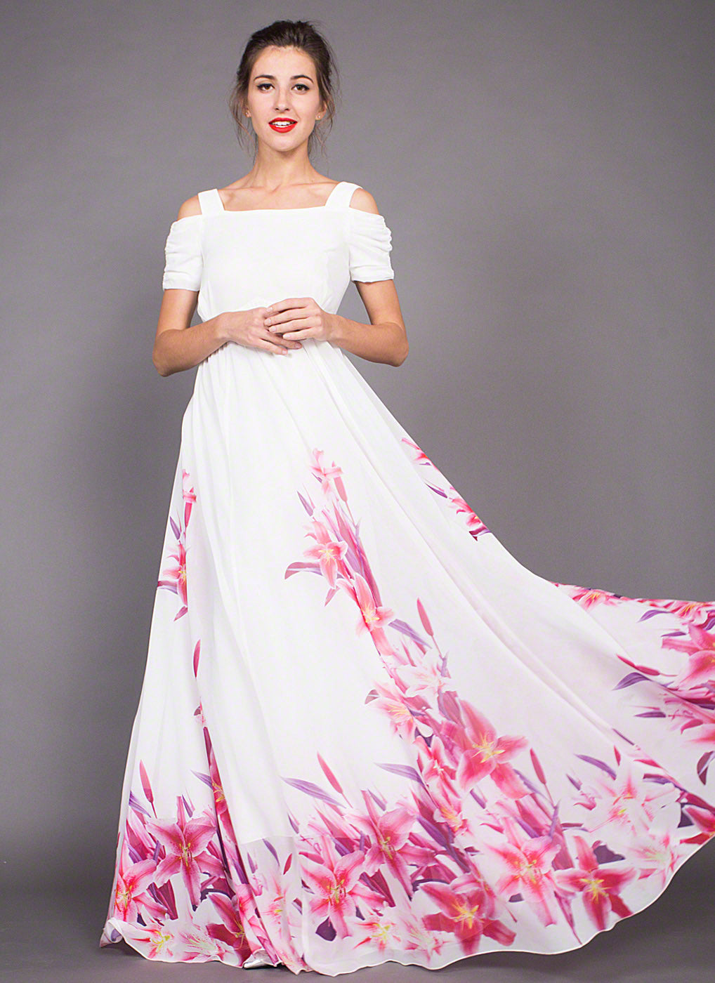 White Chiffon Open Shoulder Maxi Dress With Pink Lily Flower Print