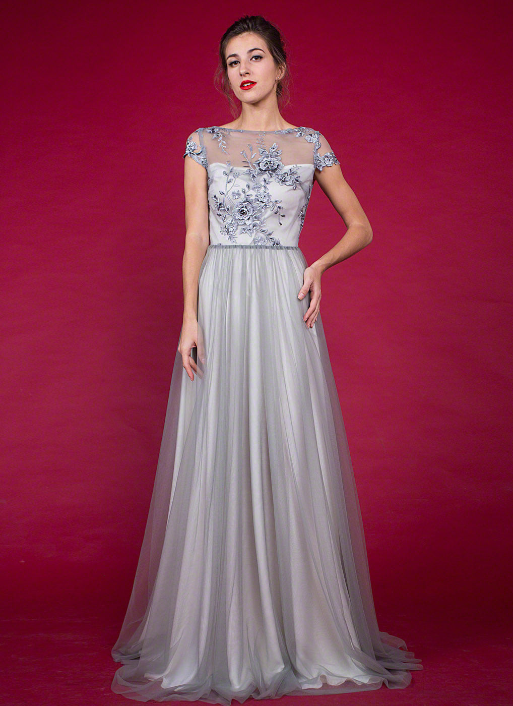 Cap Sleeved Floor Length Tulle Grey Prom Dress with Rhinestone ...