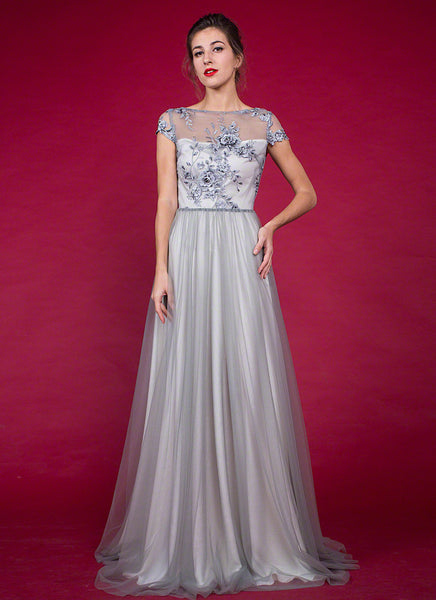Grey Floor Length Floral Embroidery Bodice Evening Gown, Cap Sleeve Floor Length Tulle Grey Prom Dress with Rhinestone Embellishment