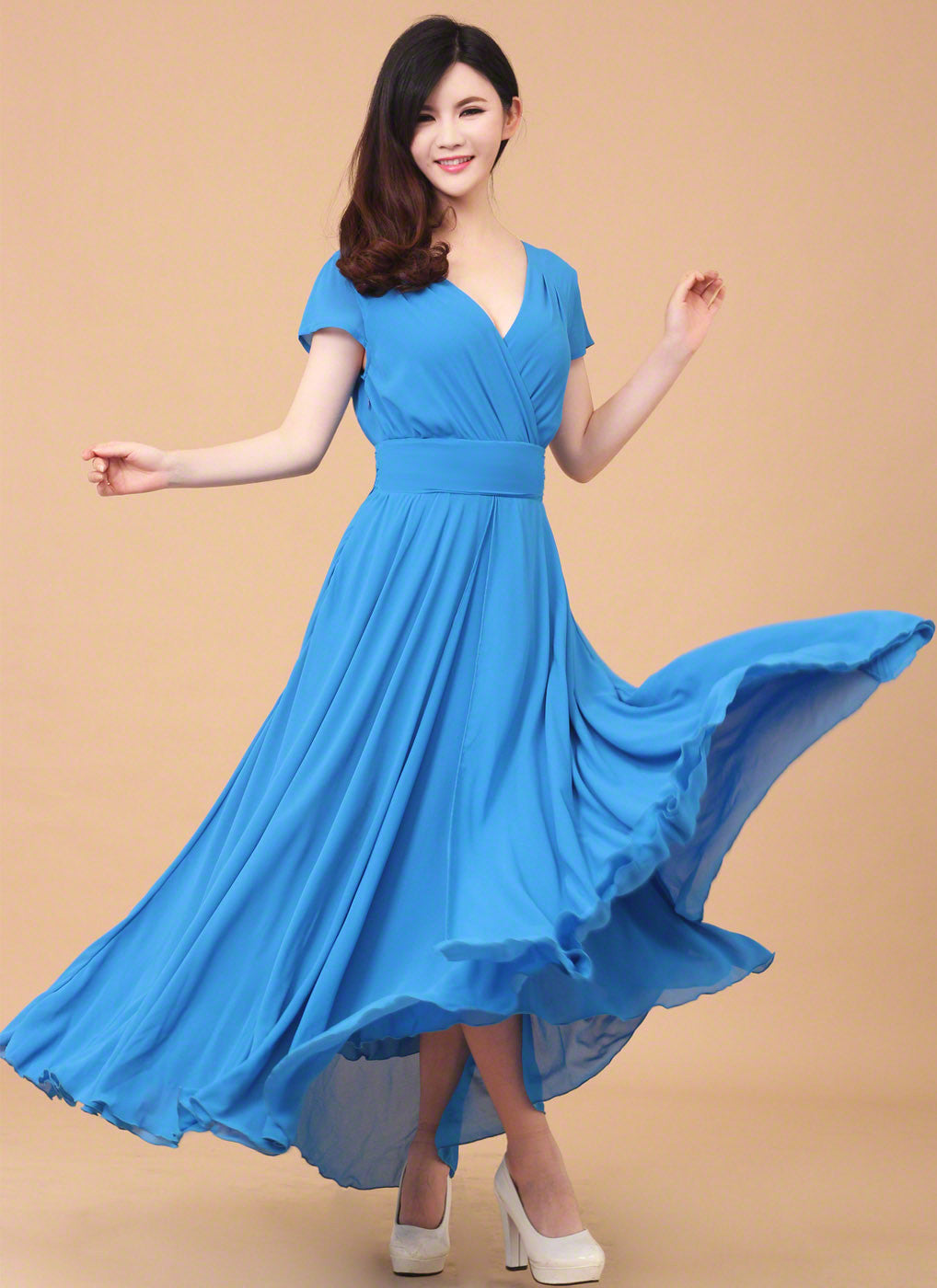 9f1a495de Sky Blue Simple Chiffon V Neck Maxi Length Prom Dress  Deep V Neck Formal  Evening