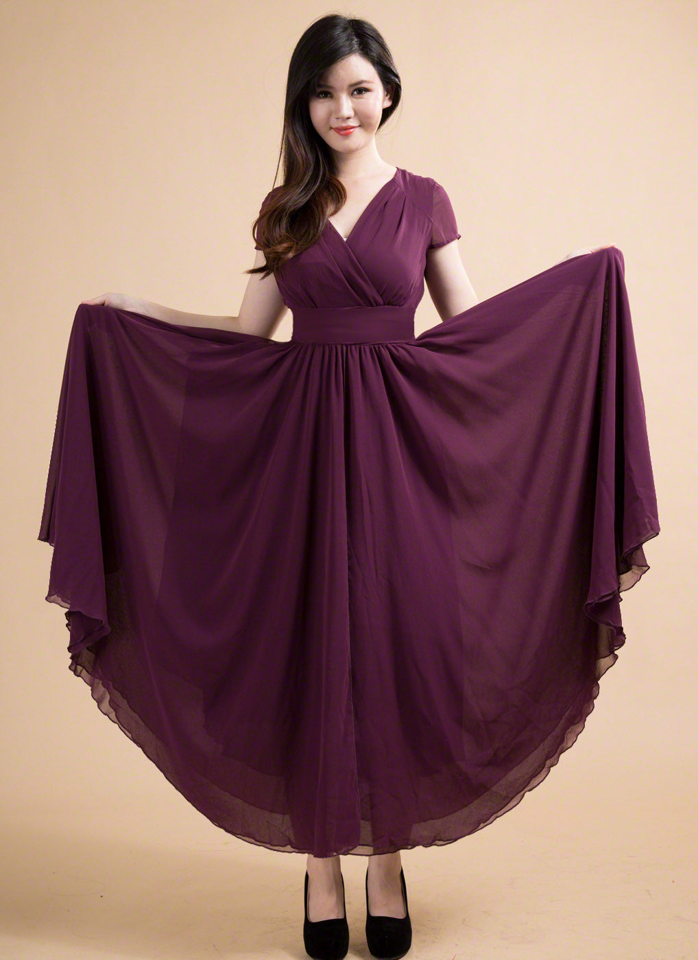 2a99ab8aec Dark Purple Simple Chiffon V Neck Maxi Length Prom Dress  Deep V Neck  Formal Evening