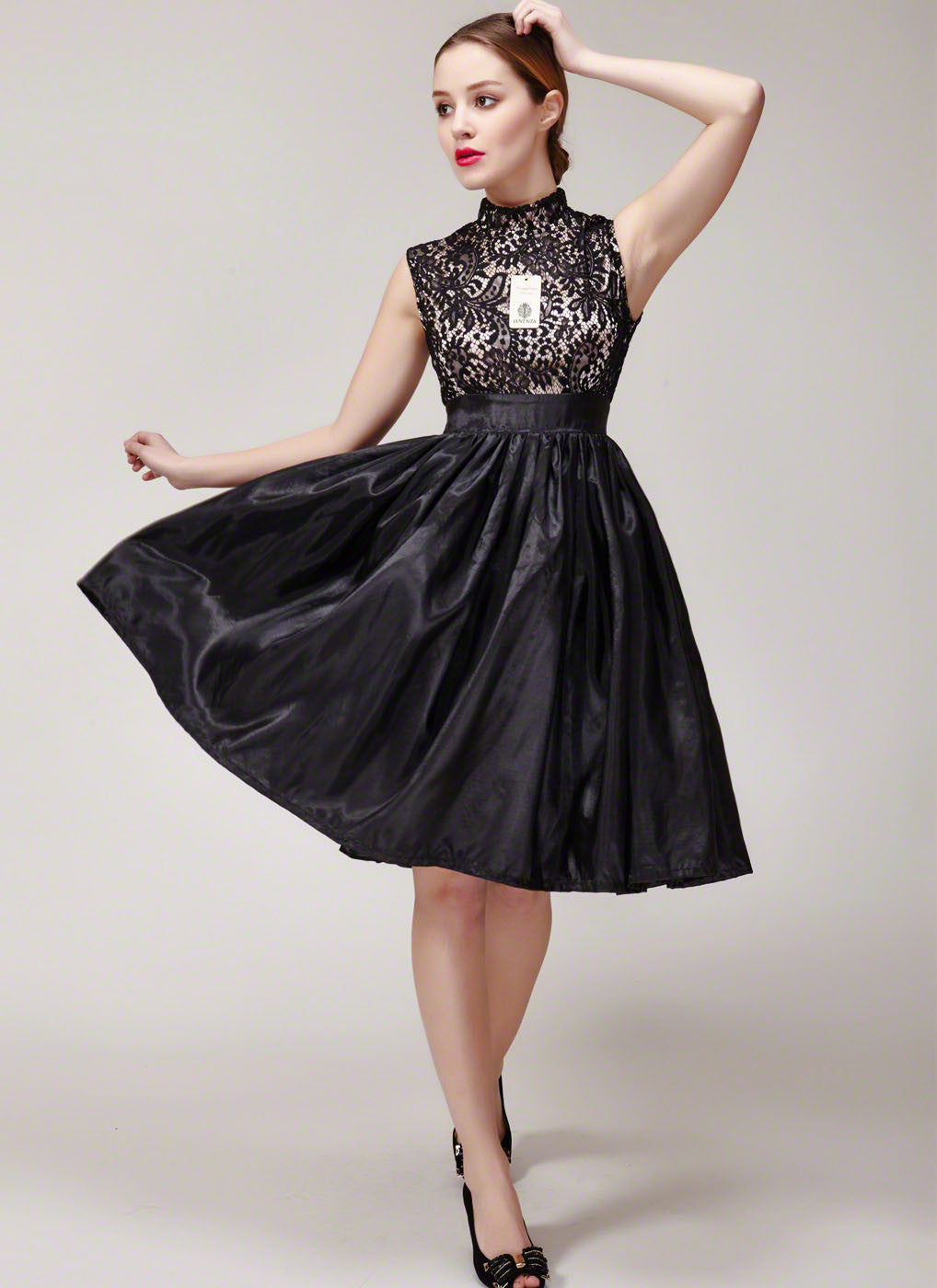eef333af91fda Black Lace Satin Prom Dress - Fit and flare dress, stand collar, lace mini