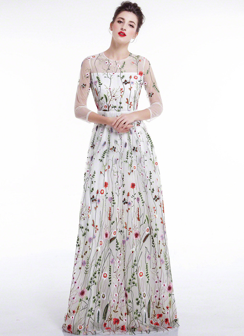 Black tulle floor length dress with colorful floral